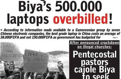 Investigation Reveals Biya laptop overbilled. After investigation by in some of the Chinese electronic factory, it was revealed that the moderate price of a laptop in China is 38000 and not 150.000 as Mr biya and his regime claims. This shows that biya is using the tax payers money to continue enriching himself as he has been doing. Do Cameroonian students need jobs or laptops?