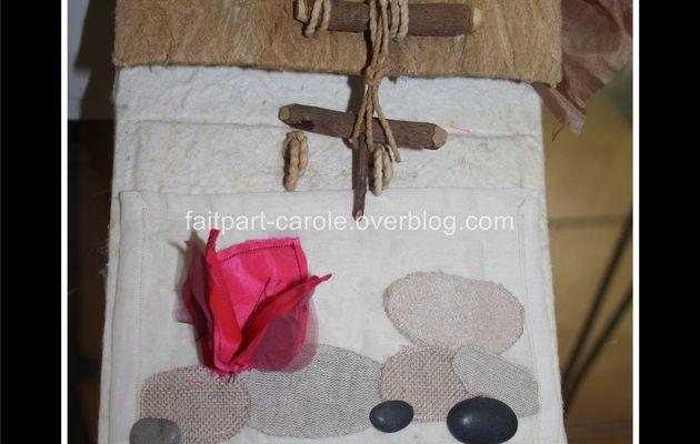 album photo thème galet bois et bougainvillier