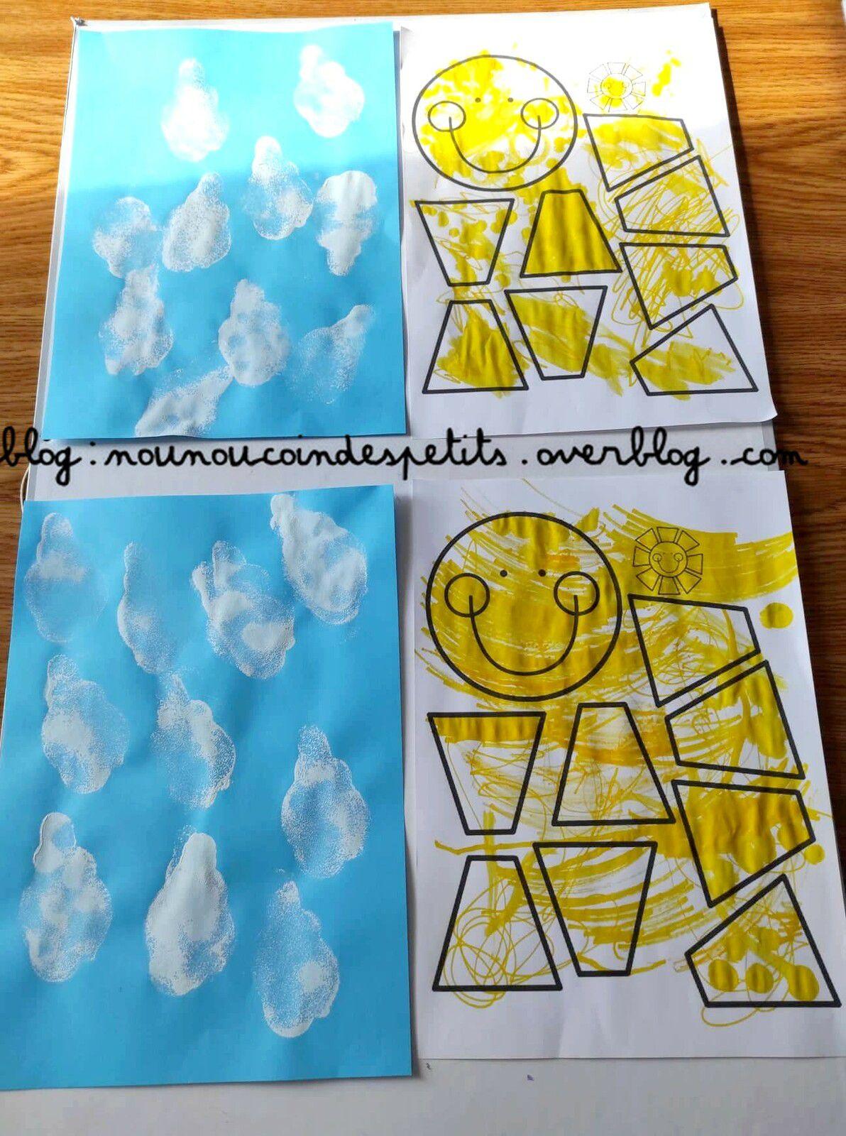 .. Bricolage enfant nuage et soleil ..