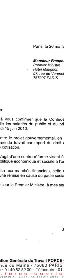 Lettre de Mailly à Fillon