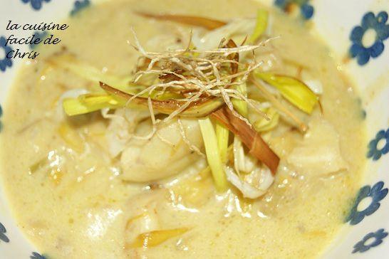 Blanquette de cabillaud au curry et poireau