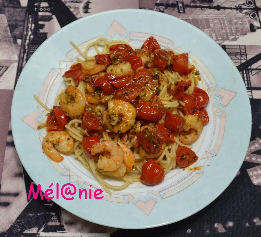 spaghettis aux crevettes épicées