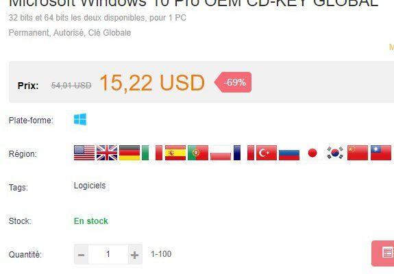 Des clés de licence WINDOWS 10 Pro à un prix imbattable.