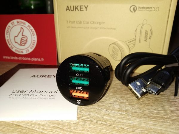 test chargeur allume cigare voiture 3 ports USB AiPower + QuickCharge 3.0 Aukey @ Tests et Bons Plans