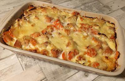 Le gratin de patates douces, carottes au saumon