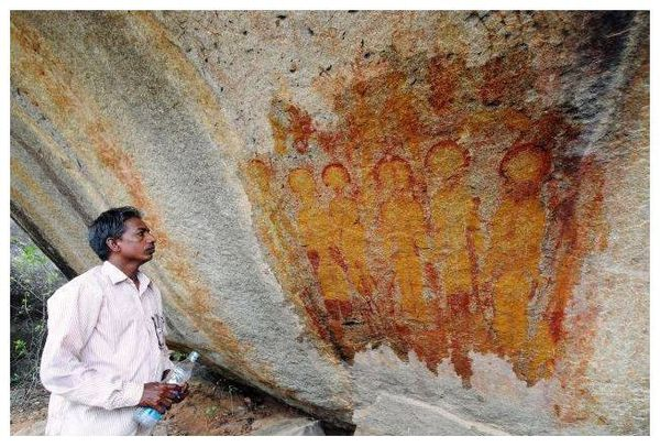 One of the ancient rock paintings carved on caves at Charama in Chhattisgarh's Kanker district.