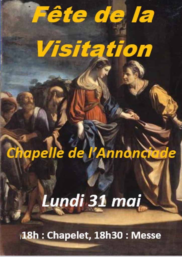 Lundi 31 mai à la Chapelle de l'Annonciade : Chapelet à 18h, Messe à 18h30
