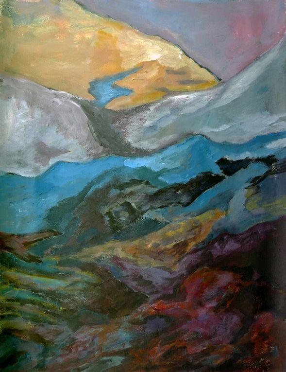 Ladin Sabras - 5 paysages - Acryliques sur papier 50 x 65 cm