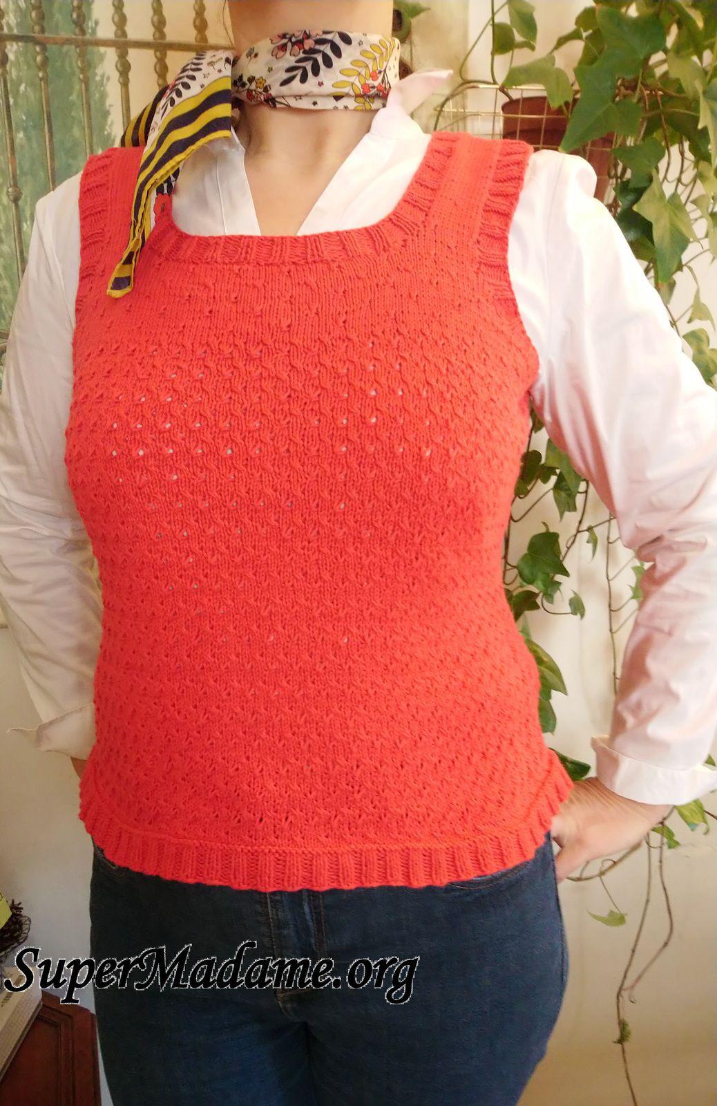 Tuto tricot gratuit débardeur femme