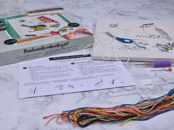 Présentation - Test - Découverte - Punch Needle - Kit - Action - Déception - Aiguille magique - Outils - Fils - Oiseau - Tableau