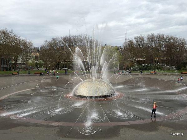 International fountain, EMP Museum et le mémorial des pompiers