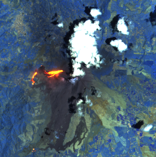 Pacaya - summit plume and lava flow - image Sentinel-2 bands 12,11,8A from 03.30.2021 / 4:18 pm - one click to enlarge