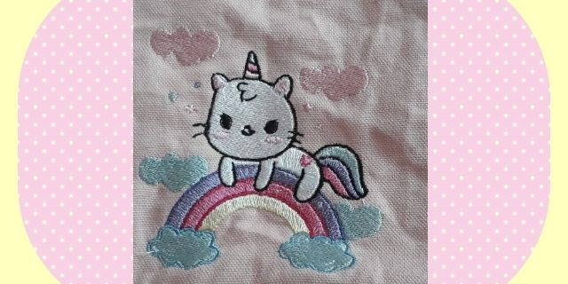 Broderie Chat licorne