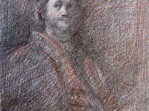D'après Rembrandt, dans l'ordre,  Autoportrait de Kenwood House London, Autoportrait1 du Louvre Paris, Autoportrait2 du Louvre Paris, Autoportrait1 du Rijksmuséum, Autoportrait2 du Rijksmuséum Amsterdam, Crayons noir et rouge 10x15 Bhavsar