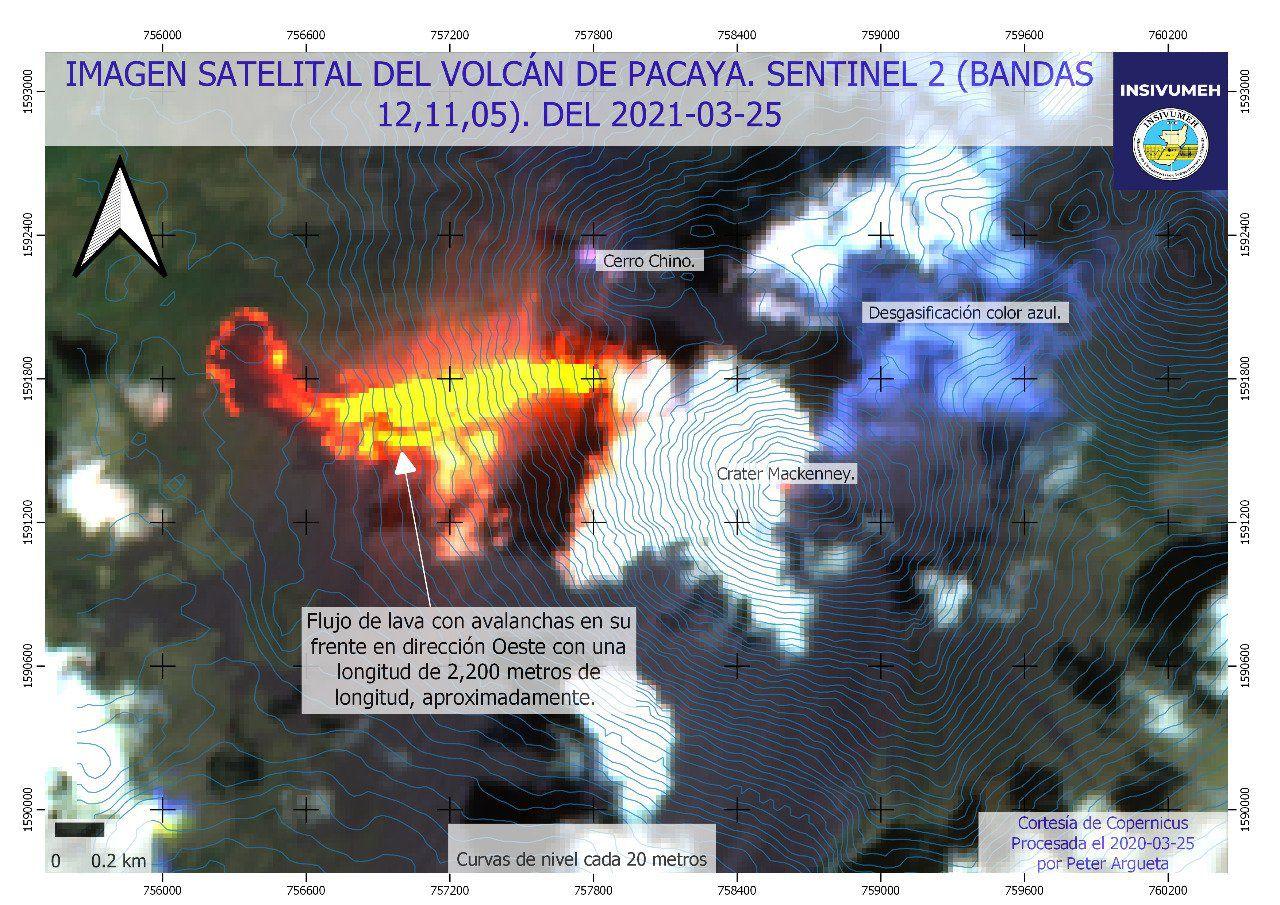 Pacaya - image Sentinel-2 bands 12,11,5 du 25.03.2021  - Doc. Insivumeh