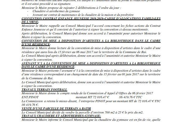 Réunion du Conseil Municipal en date du 07 février 2017