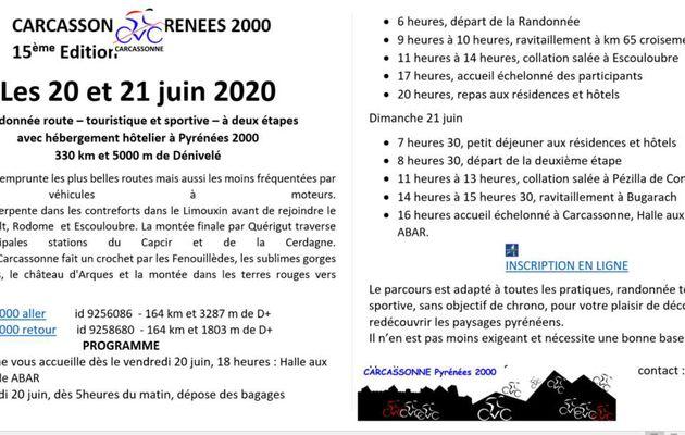Randonnée juin 2020: Carcassonne Pyrénées 2000