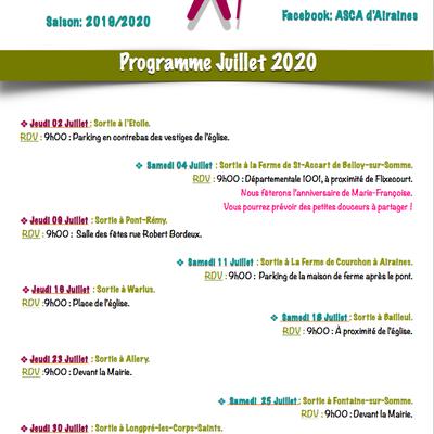 Programme Marche Nordique Club ASCA d'Airaines Juillet 2020