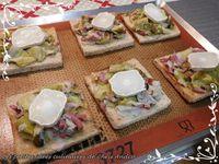 Tartines de poireaux, lardons et fromage de chèvre