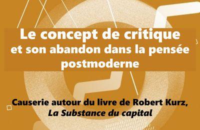 Le concept de critique et son abandon dans la pensée postmoderne + Théâtre et critique radicale du patriarcapitalisme  (Causerie du cercle WAK-Toulouse, jeudi 13 février)