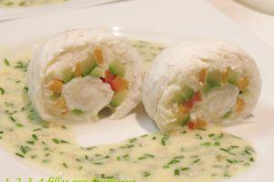 Paupiette de poisson, Arlequin de légumes, Beurre blanc à la ciboulette