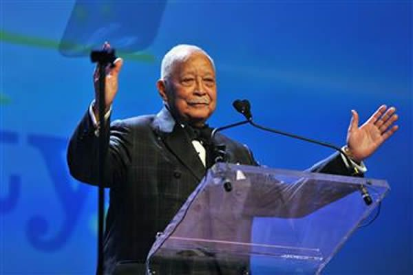 In this April 10, 2014, file photo, former Mayor of New York David Dinkins speaks onstage at the PFLAG National Straight For Equality Awards at Marriott Marquis Times Square in New York City.D Dipasupil / Getty Images for PFLAG, file