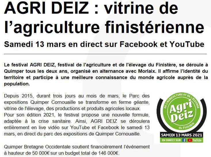 Festival Agrideiz en direct sur Facebook et Youtube le samedi 13mars. Le programme