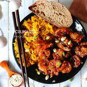 Crevettes sauce piquante, miel et orange