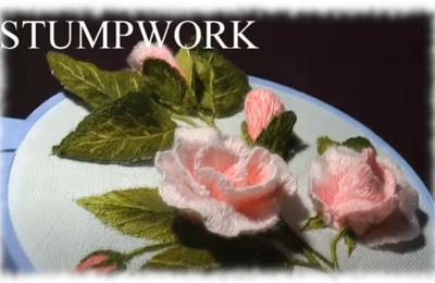 Broder des roses en relief ( stumpwork )