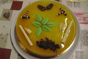 bavarois poires/crème anglaise collée/ insert fraises/miroir fruits de la passion