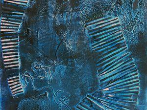 Dessin de Marie de Valon, d'après sa peinture / collage abstraite