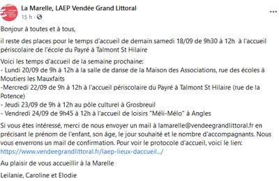 Publié le 18 septembre. La Marelle LAEP Vendée Grand Littoral. Il reste des places.