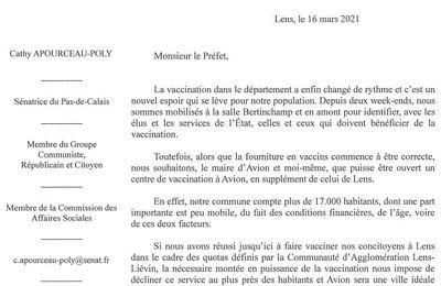 Pour un centre de vaccination à Avion : Cathy Apourceau-Poly et Jean-Marc Tellier interpellent le Préfet du Pas-de-Calais
