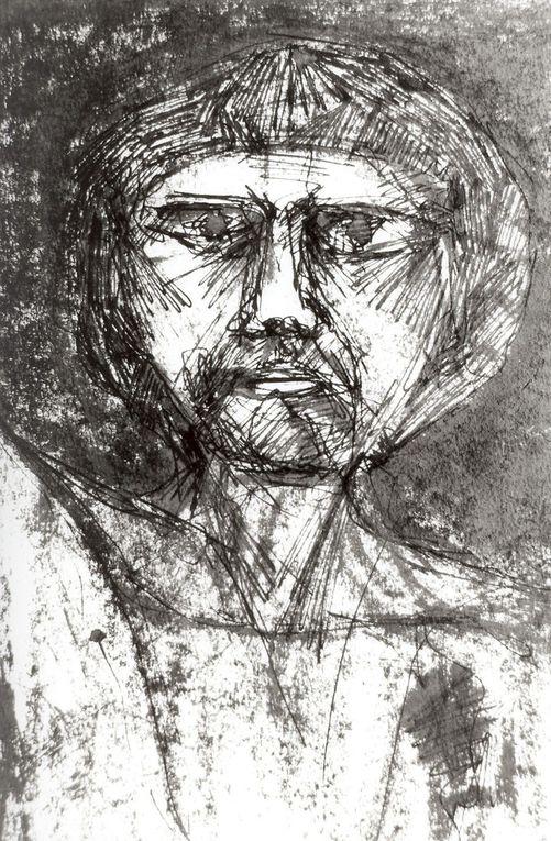 Encre noire sur papier lisse, 37 cm x 46 cm, à partir de modèles vivants