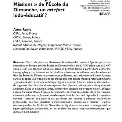 Anne Ruolt (2017). Le « petit Nègre des Missions » de l'École du Dimanche : Un artefact ludo-éducatif ?, Studies in Religion /Sciences Religieuses, n° 46/3, p. 377-405 DOI: 10.1177/0008429816673311