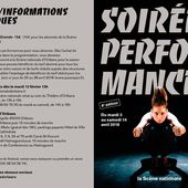 Brochure Soirées performances (8e édition) - Du 3 au 14 avril 2018