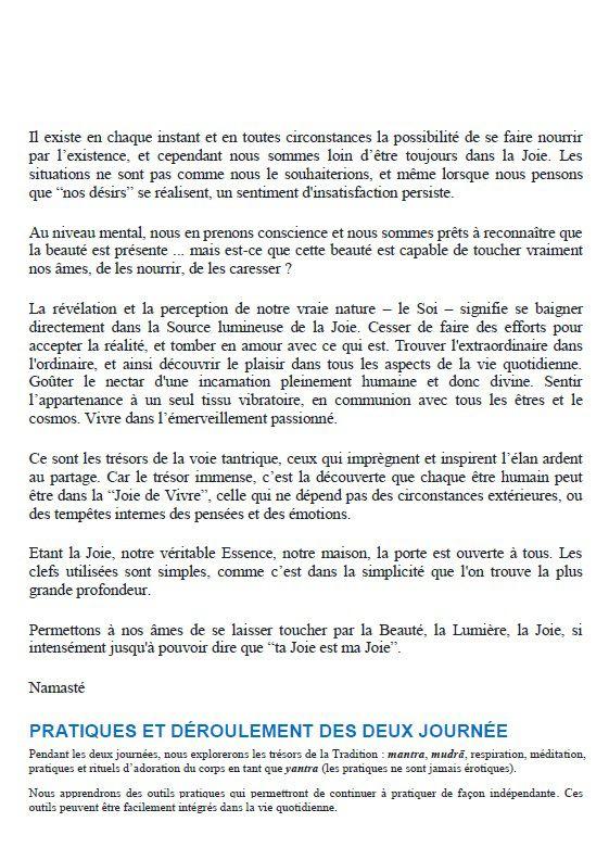 """""""LA JOIE DE VIVRE"""": Atelier selon la tradition du """"TANTRA SHAKTA"""" avec Francesca Krim: 12 et 13/06/21"""