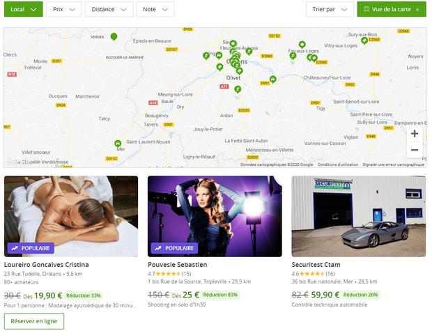 Captures d'écran du site internet de Groupon - tous droits réservés