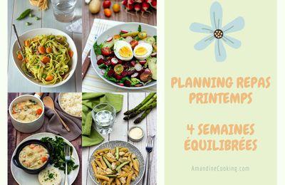 Planning repas pour la saison Printemps (4 semaines types)