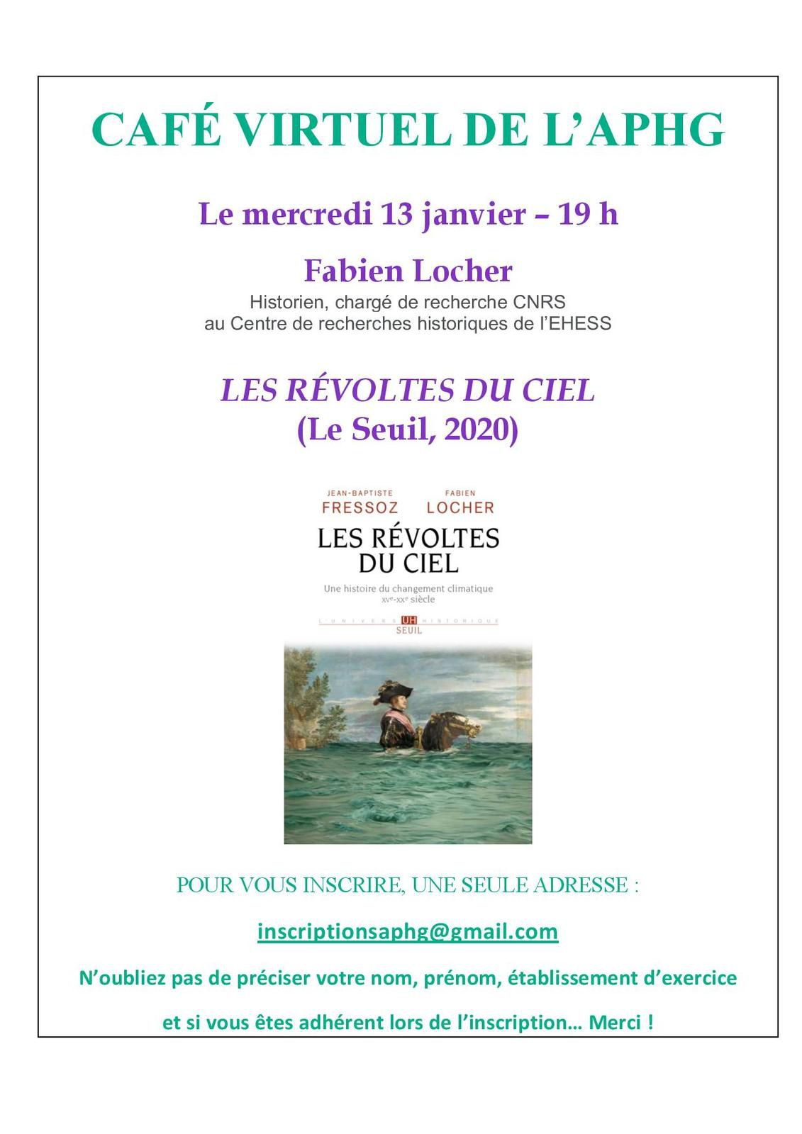 """Un café virtuel de Fabien Locher autour de son livre """"Les révoltes du ciel"""" le 13 janvier"""