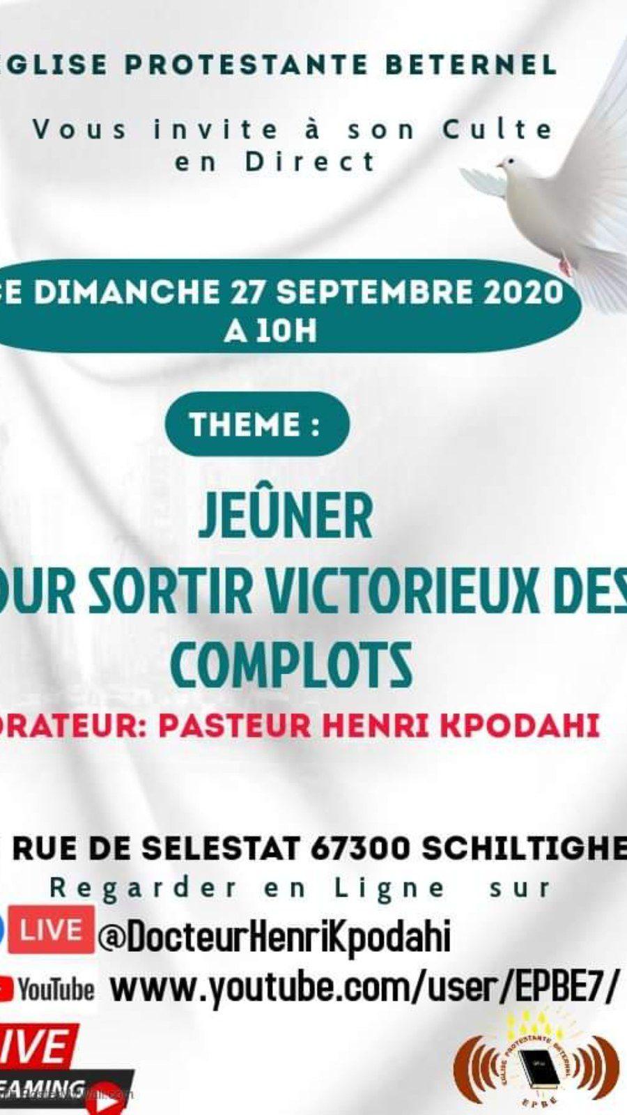 Invitation au culte en direct du dimanche 27 septembre 2020