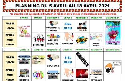 Planning des animations du 5 au 18 Avril