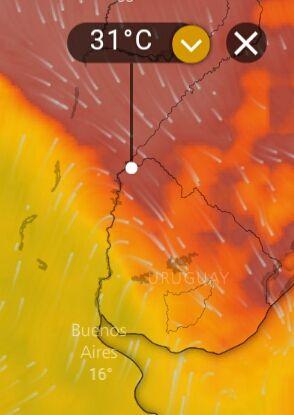 Secuencia del avance de la tormenta, temperaura, viento, Presion ( fuente Windy)