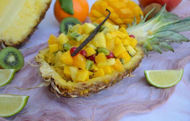 Salade de fruits et sirop vanillé