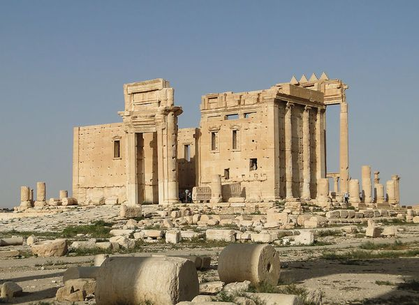 Temple of Bel, Palmyra, Syria. The temple was built on a tell with stratification indicating human occupation that goes back to the third millennium BC.