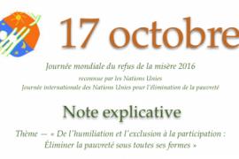 17 octobre 2016: Journée mondiale de refus de la misère, journée internationale de lutte contre la pauvreté!