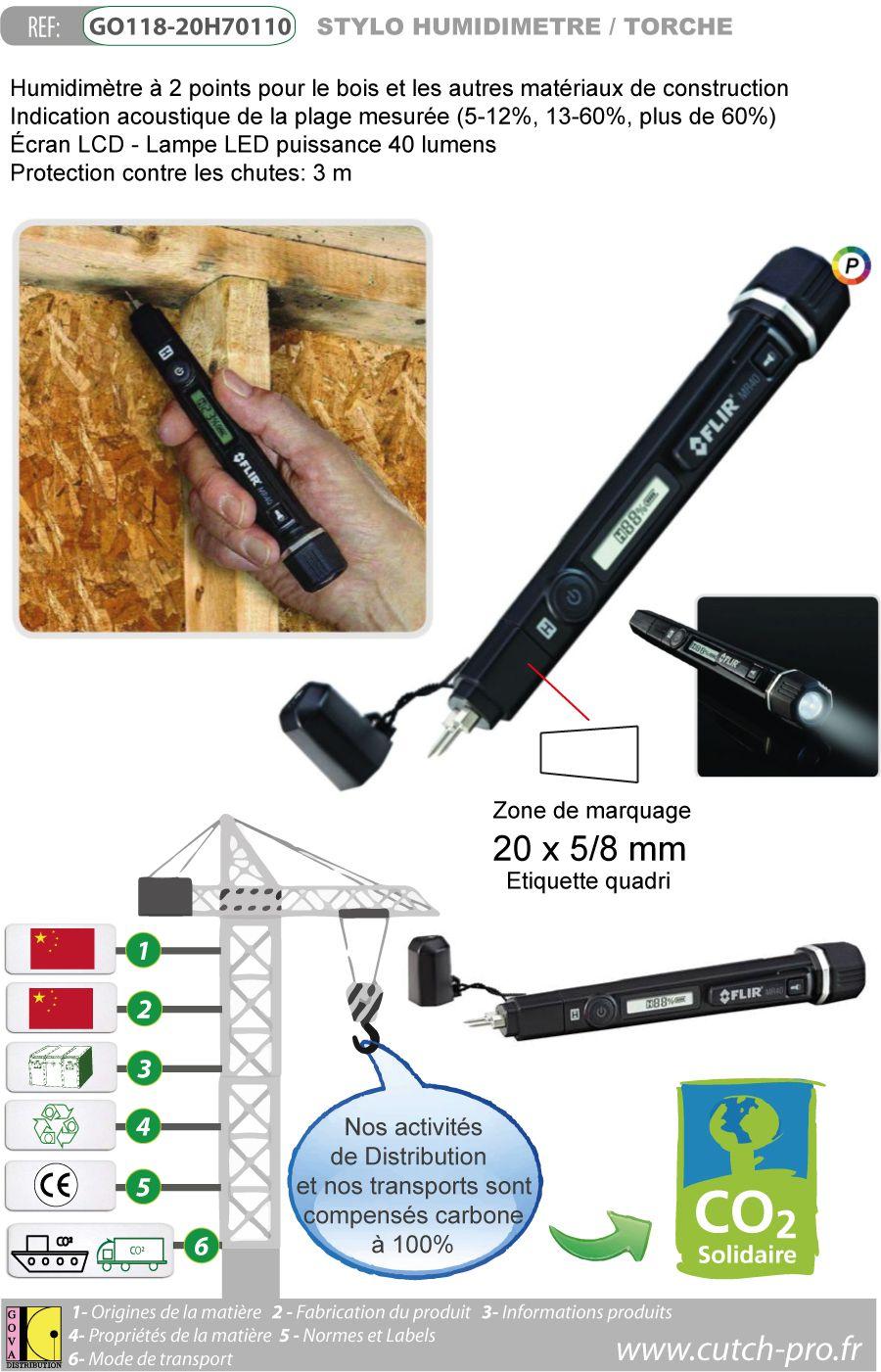 Stylo humidimetre professionnel avec torche - GO118-20H70110