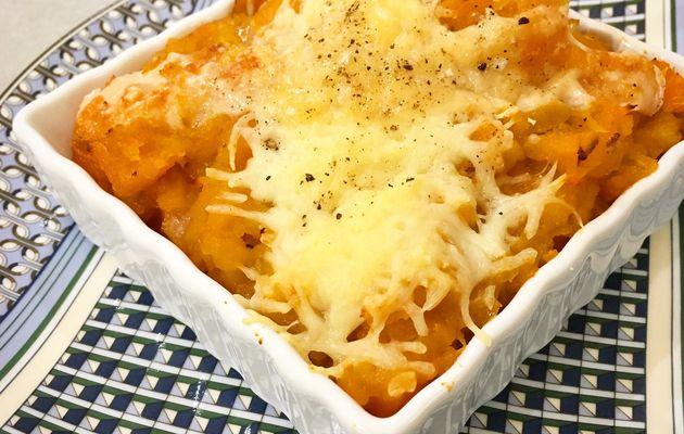 Poêlée de Patate douce aux oignons, lardons gratinée sans gluten - pour 4 personnes