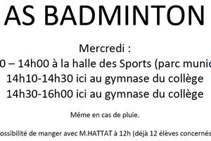 Horaires entrainements AS Badminton : rappel