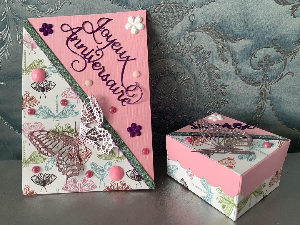 Carte et boite cadeaux anniversaire pour mamy